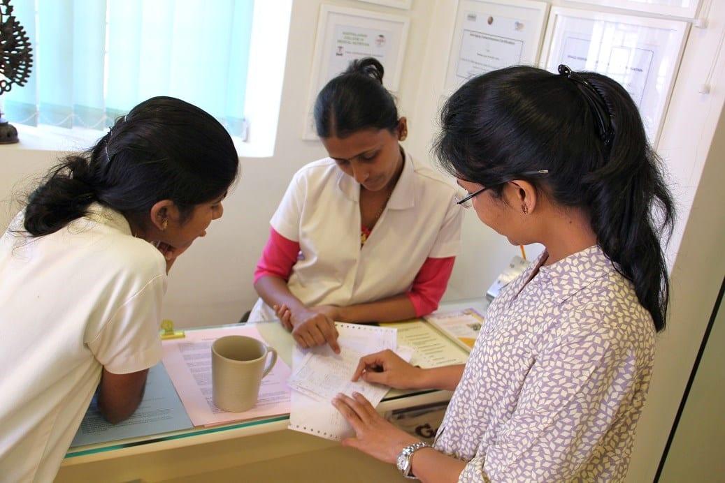 Dr.Shikha Aggarwal with two nurses at Healthy Healing Center, Goa, India
