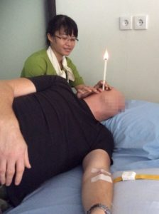 Some client receiving ear treatment - image courtesy of Bali Ozone Therapy