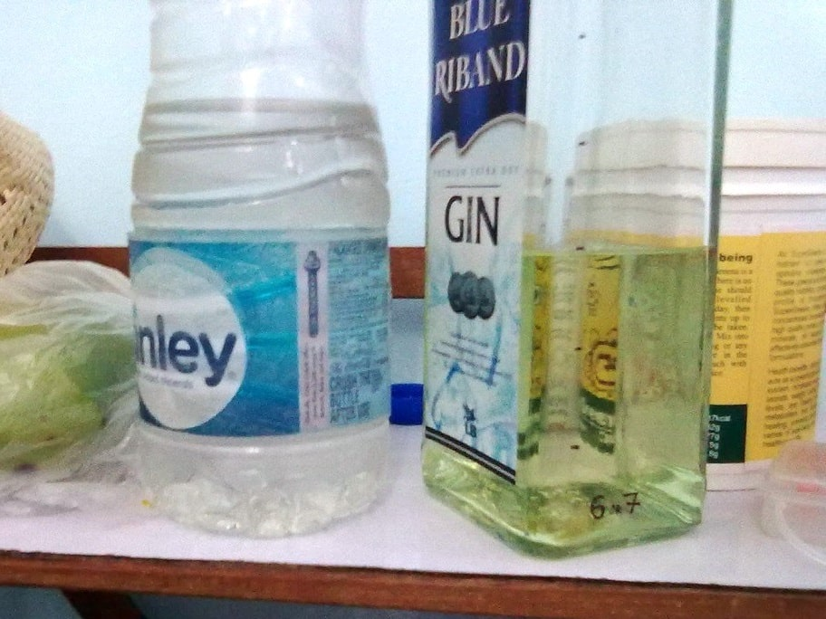 MMS Protocol 1000 mixed in old gin bottle.