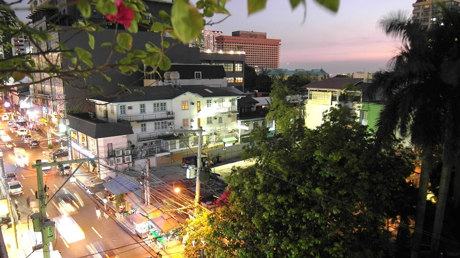 Manila Malate at night from the terrace of Wanderers guest house