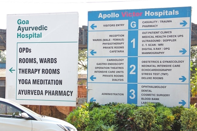 In India Ayurvedic and Allopathic hospitals go side by side. Apollo Victor Hospital in Goa does not have JCI accreditation yet, but it holds some other certifications such as ISO 9001:2000.