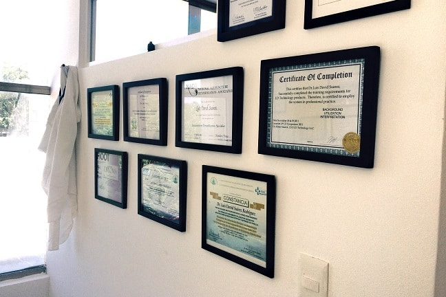 Some diplomas of Dr.Suarez at Sanar clinic, Playa del Carmen