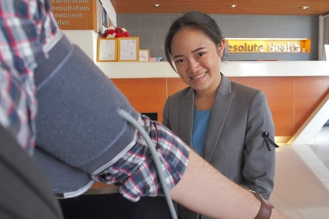Measuring blood pressure at Absolute Health, Chiang Mai