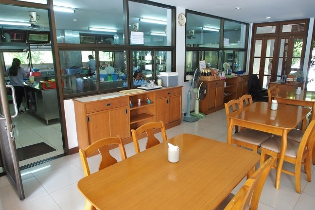 Restaurant with set menu and demonstration kitchen for preparing healthy organic food in practise at Balavi Center, Chiang Mai, Thailand