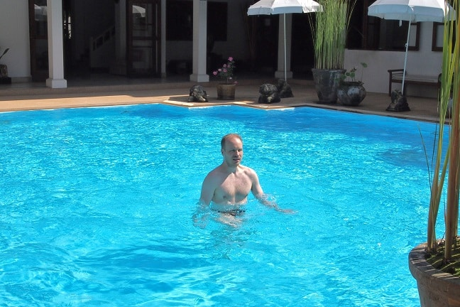 Water aerobics - I kind of like it more than swimming as it's not so hard for your neck - at Balavi Center, Chiang Mai, Thailand