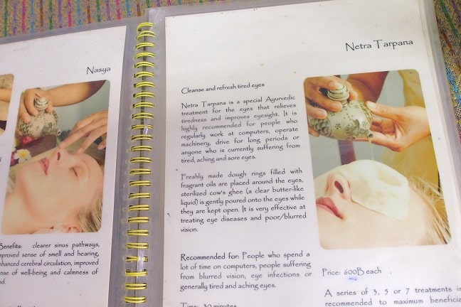 Menu of different treatments at Chiang Mai Ayurvedic Center