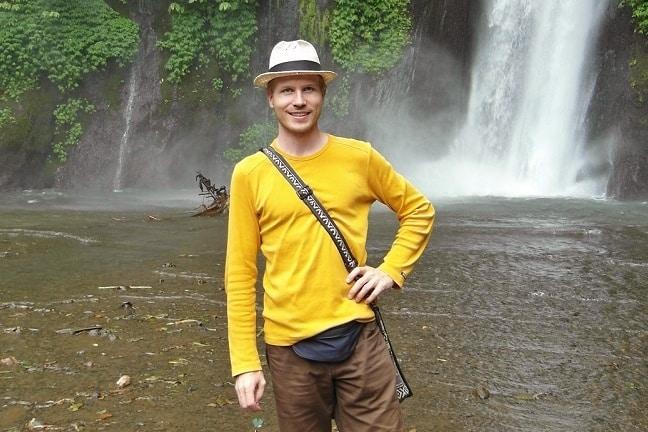 Me in Bali at waterfall
