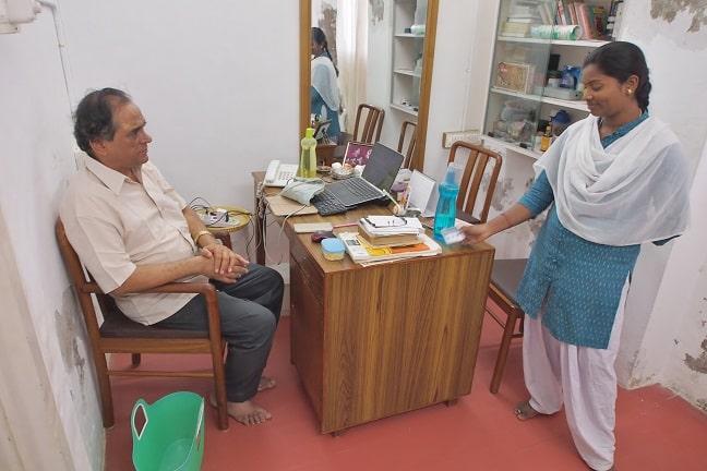Mr.Sundararajan and assistant lady at Sias healing centre-Puducherry