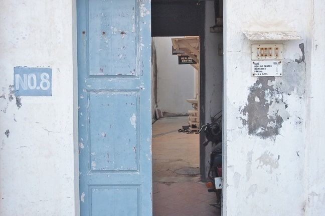 Sias healing centre-doorway at beach road-Goubert Avenue 8-Puducherry
