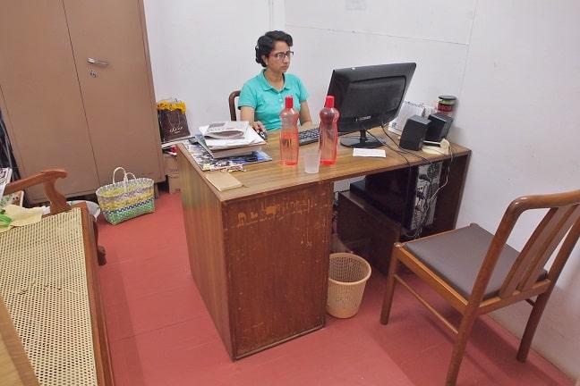 Akhila at reception of Sias healing centre